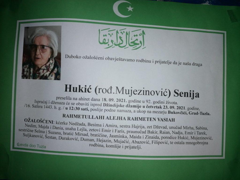 Preminula je Senija Hukić