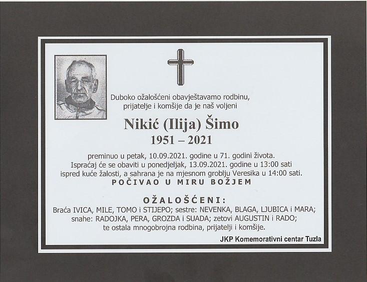 Preminuo je Šimo Nikić