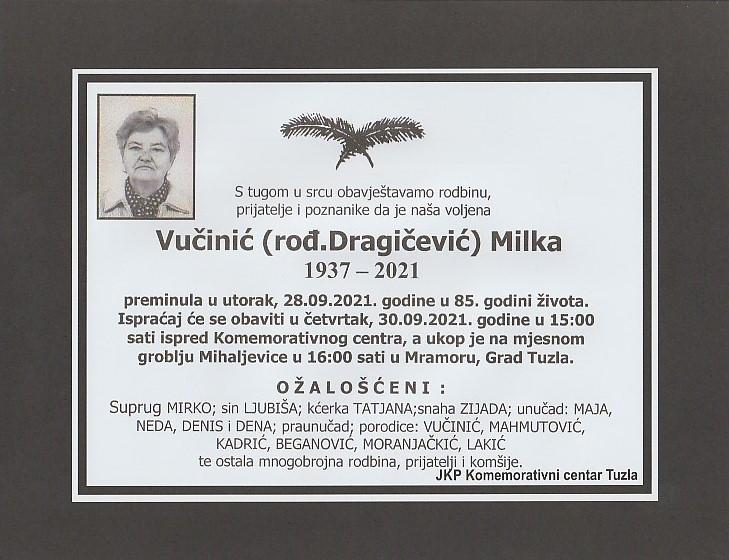 Preminula je Milka Vučinić