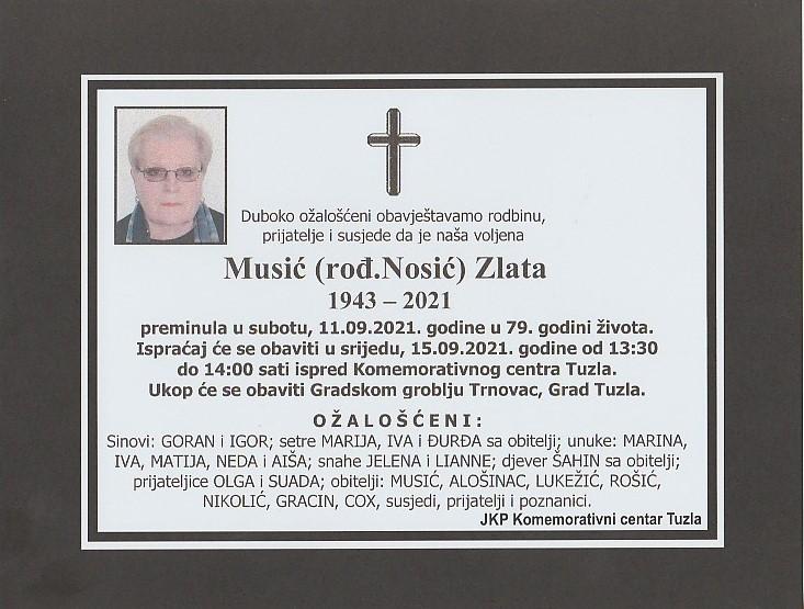 Preminula je Zlata Musić