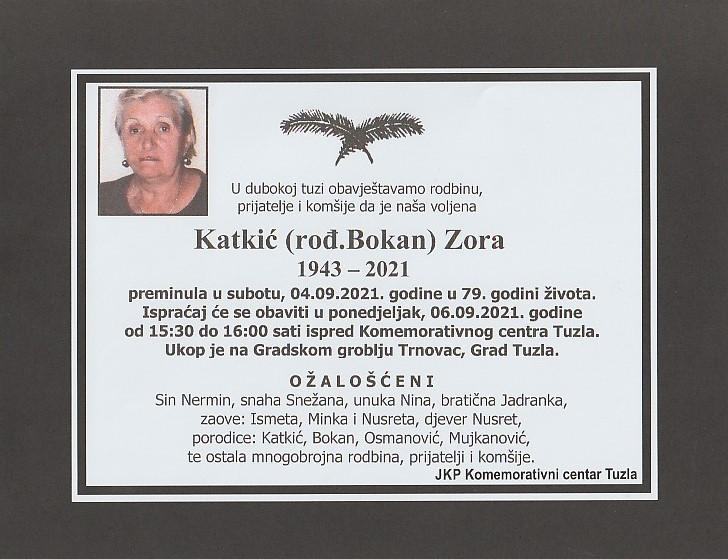 Preminula je Zora Katkić