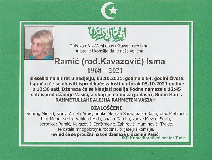 Preminula je Isma Ramić