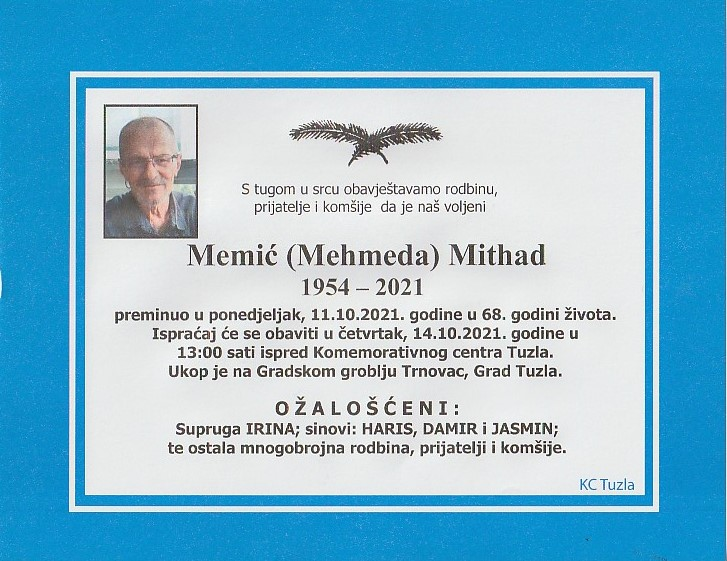 Preminuo je Mithad Memić
