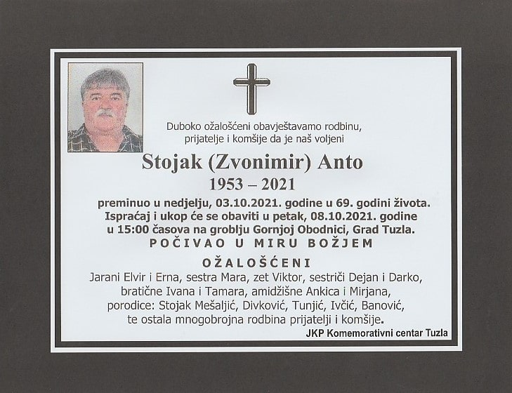 Preminuo je Anto Stojak