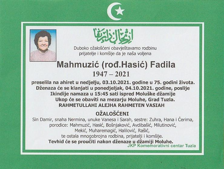 Preminula je Fadila Mahmuzić