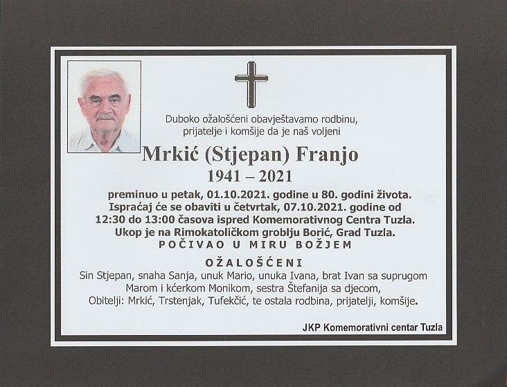 Preminuo je Franjo Mrkić