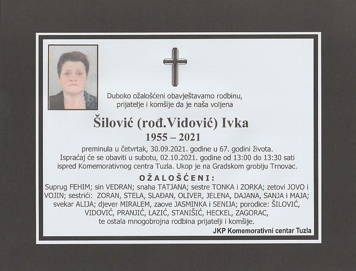 Preminula je Ivka Šilović