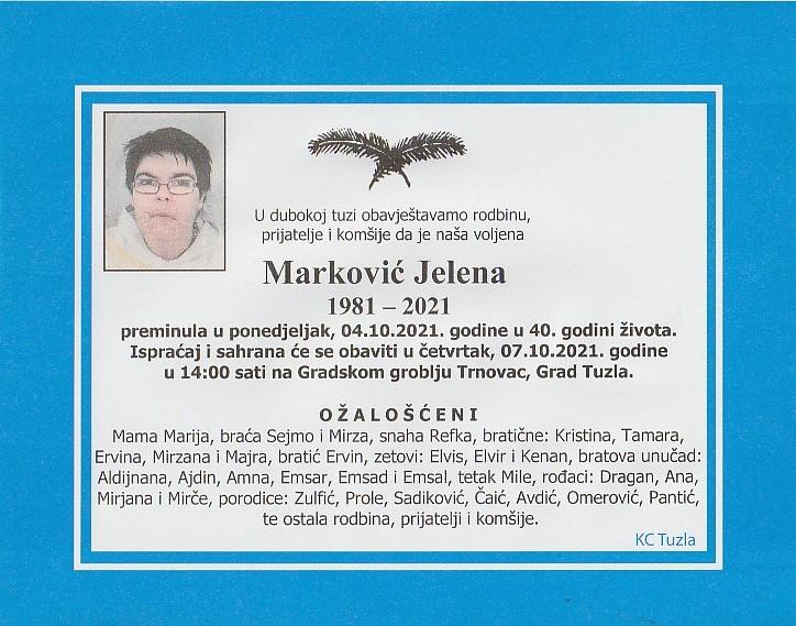 Preminula je Jelena Marković