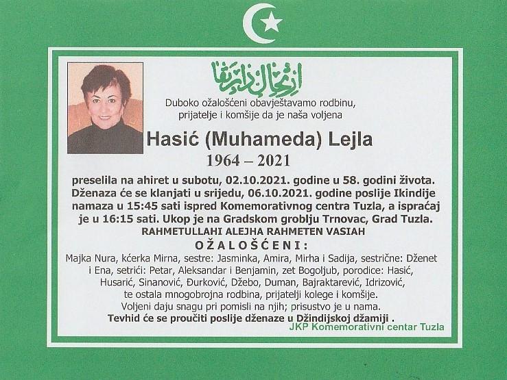 Preminula je Lejla Hasić