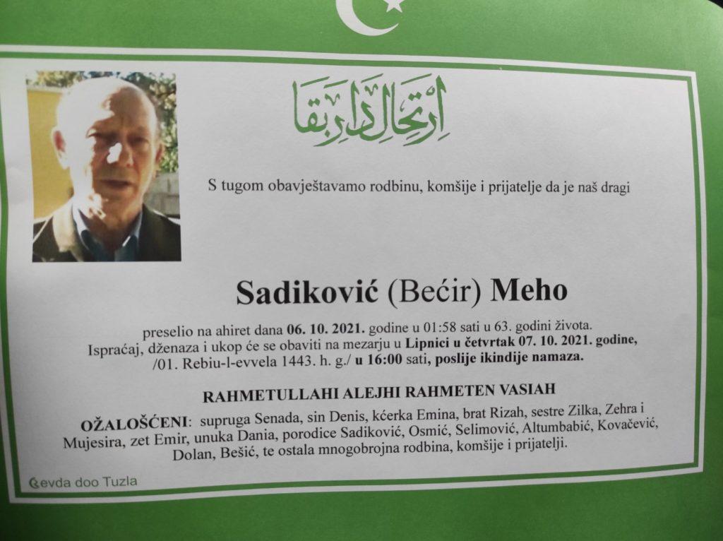 Preminuo je Meho Sadiković