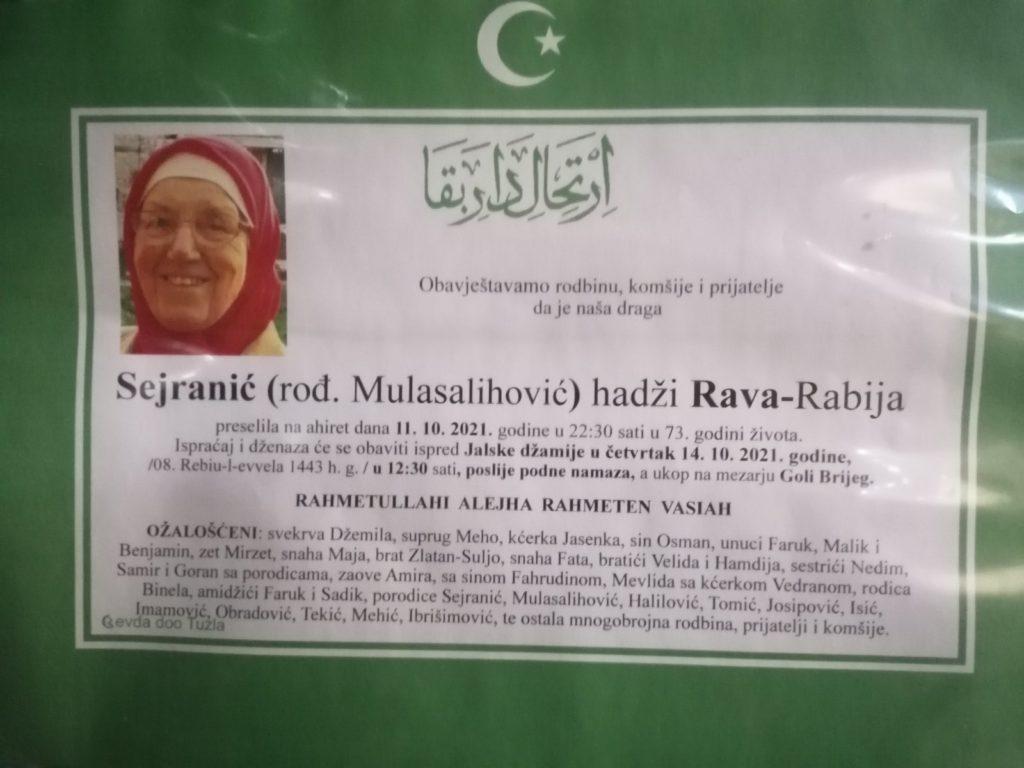 Preminula je Sejranić hadži Rava Rabija