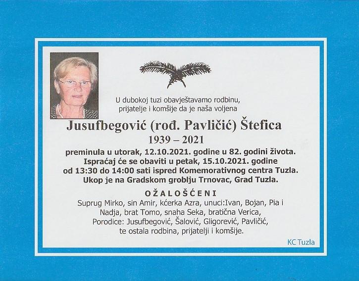 Preminula je Štefica Jusufbegović