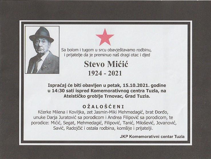 Preminuo je Stevo Mićić